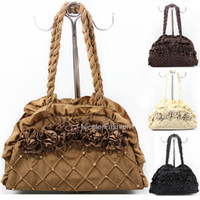Wholesale Handmade women shoulder bags fashion handbag cotton fabric sacks flowers ruffle straps cloth large totes with sequins and beads LB