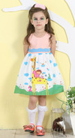 Wholesale Fashion Giraffe Cartoon Printed Dress Polka Pot Rhinestone Round Neck Sleeveless Cotton Blended Hit Color Cute Children s Dresses