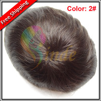 Wholesale Stock quot x10 quot quot x9 quot quot x8 quot Color Indian Remy Hair Fine men hair loss replacement system men s toupee