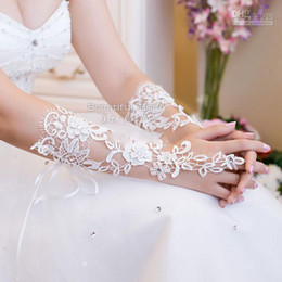 Wholesale Bridal Gloves About cm Luxury Lace Diamond Flower Glove Hollow Wedding Dress Accessories