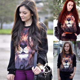 Wholesale 2013 Autumn new style Fashion hot selling class women s d lion head animal pattern trend personality sweatshirt amp hoodie