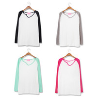 Wholesale NWT cotton brand quality autumn long sleeve V neck raglan candy color patchwork women clothing t shirt women