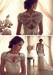 Wholesale 2014 New Design Gorgeous Sheer V Neck Off Shoulder Anna Campbell Gossamer Collection Chiffon Wedding Dress