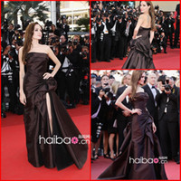 Wholesale 2014 Hot Sale Good Design Sexy Angelina Jolie Celebrity Dresses A Line Split Strapless Brown Satain Evening Dresses Sweep Train Ke3031