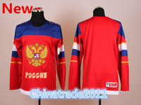Ice Hockey Men Full 2014 Russia Hockey Jersey for the Olympics Red Color Sports Shirts with Embroidery Logo Wholesale Russian Olympics Hockey Jerseys Hot Sale