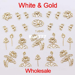 Wholesale Designs White amp Gold Metal Nail Art D Stickers Lotus Dragonfly TJ