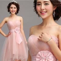 Wholesale 2014 Short Front Long Back Wedding Guest Dresses Tea Length Pink Formal Party Formal Bridesmaid Evening Wear Plus Size