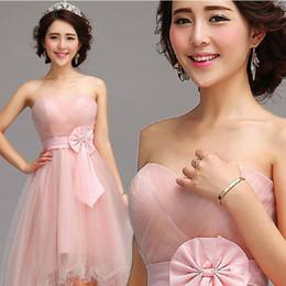 2014 Short Front Long Back Wedding Guest Dresses Tea Length Pink Formal Party Formal Bridesmaid Evening Wear Plus Size