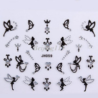 Wholesale 18 Designs D Nail Wrap Bling Crystal Rhinestone Sticker JH Series Angel Heart