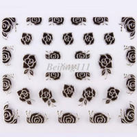 Wholesale 24 Deisgns Nail Art D Sticker Metal Black amp Silver Rose Lily Lotus Birds Butterfly New