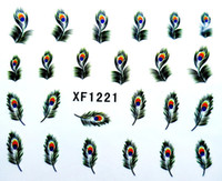 Wholesale New arrival Nail Art Wrap Water Transfer Sticker Decals Peacock Feathers sheets