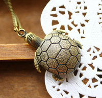 Wholesale 2013 hot sale NEW dropship bronze pendant unique turtle tortoise lucky fortune pocket watch