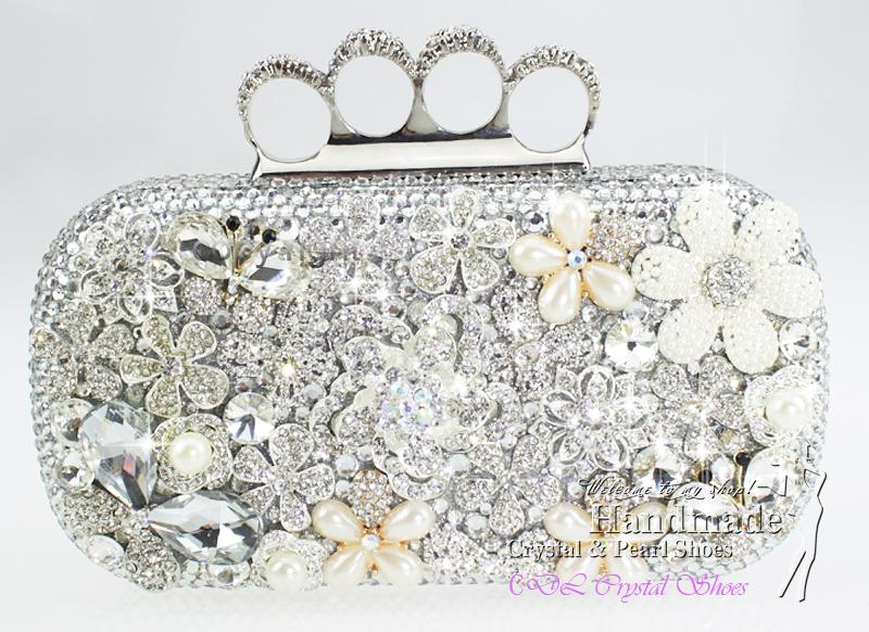 Handmade Silver Rhinestone Evening Bags Evening Purse for Party ...