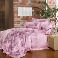 Wholesale 100 LUXURY KING COMFORTER IN A BAG JACQUARD BEDDING SET DUVERT COVER SET PINK FLOWER QUEEN BED SHEET COVERLET BEDSPREAD