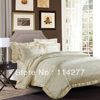 Jacquard Silk / Cotton Woven Free Shipping Brand luxury Satin Yogo jacquard Beige bedding set