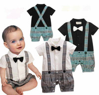 Boy Summer 100% Cotton hot sale Infant Boy suspender Plaid bloomers Rompers With Bow-tie Baby One Piece Romper Kids Climb Clothes Toddler Plaid Jumpsuits