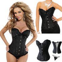 Wholesale Sexy Corset Women Bone Black Lace Bustier Corset G string Set Lingerie S M L XL XL XL XL XL XL