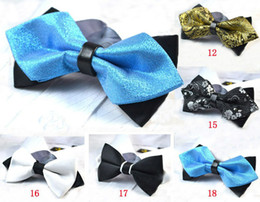 Mens Pre-Tied Adjustable Bow Ties Turquoise On Black Synthetic Leather Double Diamond Tip Bowties Free Shipping MOQ : 5 pcs