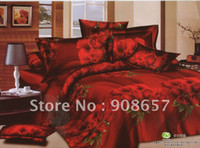 Wholesale brand new red rose flower floral pattern home textile queen cotton bedding comforter quilt duvet covers sets pc