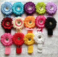 Headbands other Solid Free Shipping Wholesale Infant toddler baby girl 20set daisy clip flowers with hair crochet headband 20Color hair accessory A304