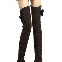 Leg Warmers ball legs - Women s Fashion Thicken Knit Crochet Winter Leg Warmer Plush Ball Socks WF