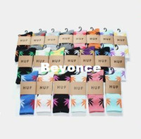 Foot Cover Men Sock Wholesale 360pairs lot Fashion Women Boys Men's Huf leaf sock Stockings skateboard sports sock knee-high cotton Stockings RJ1882