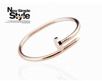 Wholesale Fantastic Seller Simple Nail Modelling Bracelet Titanium Stainless Steel Bangle K Gold Plating Bracelet