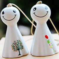 Wholesale Jingdezhen made pottery and porcelain ceramics aeolian bells wind bell windbell Cartoon hot popular home pendant aeolian bells windbells