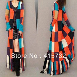 Free Shipping 2018 New Fashion Long Floor Length Knitted Sweater Cardigan For Women Plaid Geometrical Outerwear With Tassel Trench Outerwear