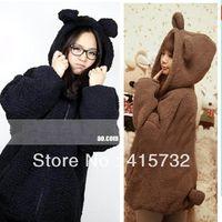 Women bear ear hoodie black - New Faux Fur Coat Rabbit Outerwear With Bear Ears Cute Plus Size Loose Winter Sweatshirt Hooded Brown Hoodies