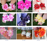Wholesale Baby Amour Barefoot Sandals Girls fashion Flower Feet Toes Shoes Infant Bloom wear tyzsz