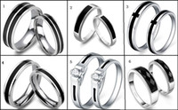 "Couple Rings   ""Six style black agate stone ring!""925 silver plated platinum ring! wedding ring!drop ship.Valentine's day gifts! 5pairs 10pcs.C."