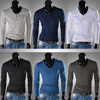 Men Polo Tops Male unique button long-sleeve slim t-shirt--Seller-ebay