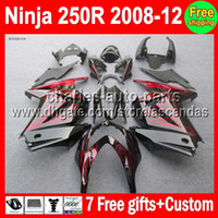 7gifts+ 100%New For Kawasaki red flames Ninja ZX250 08- 12 ZX ...