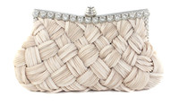 Wholesale Hot Weaved Satin Crystal Frame Wedding Bridesmaid bag Clutch Purse handbag Evening Bags