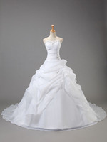 Ball Gown Reference Images Sweetheart Custom Plus Size Real model White Bridal Gowns Organza Sweetheart Sleeveless Draped Crystal Bead Wedding dress Lace Up