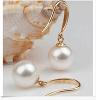 Wholesale Excellent AAA mm Round south sea white pearl earring K gold earrings