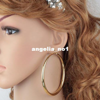 Wholesale Trendy Big Size Style Large Hoop Earrings For Women Fashion K Real Gold Plated Basketball Wives Big Size Earrings V E3027