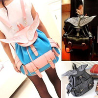 Wholesale wowcool2010 Hot Sale Travel Bag Stachel Purse Bookbags Girl Cute Angel Wings Backpack FP164