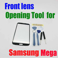 For Samsung   New Arrival!!!Opening Tools and 3M Adhesive with Touch Screen Outer Glass front lens for Samsung Galaxy Mega i9200 9200 with logo goodbiz