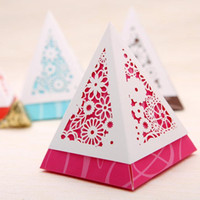 Favor Boxes Pink Paper 60 pcs Blue Pink and Yellow Floral Lace Cut-out Chocolate Gifts Candy Favor Boxes for Wedding Ceremony Party Free Shipping