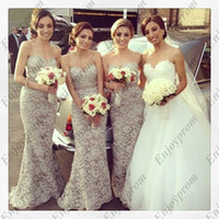 Wholesale 2014 Hot Lace Bridesmaid Dresses Amazing Lace Covered Sweetheart Satin Sash Mermaid Floor Length Wedding Party Dresses