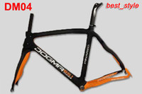 Wholesale New Style Racing Bicycle Frames Pinarello Dogma Think Carbon Road Bike Frames Aerodynamics Seatpost Black Orange Bike Frames DM04