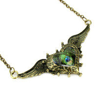 Wholesale 50PCS Bronze Tone Steampunk Victorian Peacock Wing Heart Cameo Pendant Necklace Women Necklaces