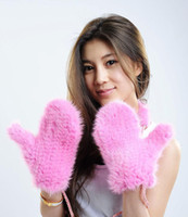 Wholesale mink fur gloves mittens knitted mittens lady winter warm gloves high quality luxury gloves sling mittens
