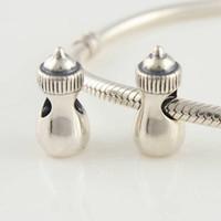 Silver Black 7.75*16.1*7.75 mm Hot Sale 925 Sterling silver baby bottle Bead Charm Jewelry Fit European DIY Bracelets