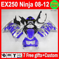 Wholesale 7gifts Custom Kit For blue silver Kawasaki Ninja EX250 EX250R EX silvery Fairings