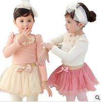 Wholesale 2014 New Childrens Princess Set Lace Collar Puff Sleeve T shirt And Pearl Tutu Skirt Pieces Set Girls Spring Sweet Set