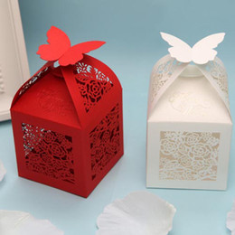 Wholesale 120 Rose Cut out White amp Red Candy Gifts Chocolate Favor Boxes With Butterfly On the top For Wedding Party