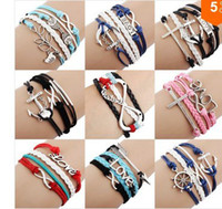 Wholesale 24pcs One Direction Anchor Infinity antique Cross Love Peace Heart Music mix wish Leather Bracelet Charm Wristbands SET